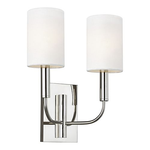 Brianna 11.375 in. W 2-Light Polished Nickel Sconce with White Shades