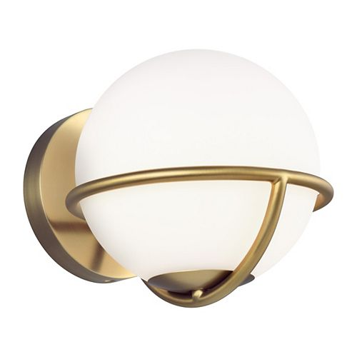 Apollo 7.125 in. W 1-Light Burnished Brass Sconce with White Orb Shade