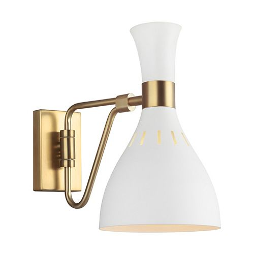 Joan 6.25 in. W 1-Light Matte White and Burnished Brass Swivel Sconce