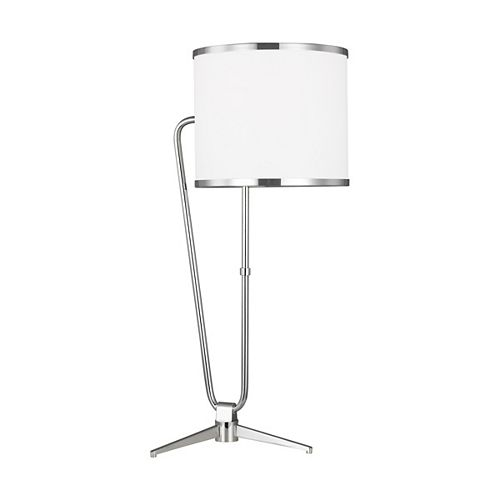 ED Ellen DeGeneres Crafted by Generation Lampe de table Jacobsen en nickel poli avec abat-jour en papier parchemin blanc
