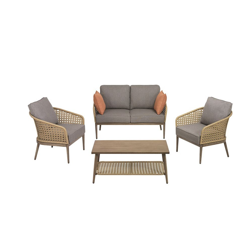 Hampton Bay Coral Vista 4-Piece Brown Wicker and Steel Patio Conversation Seating Set with Grey Cushions