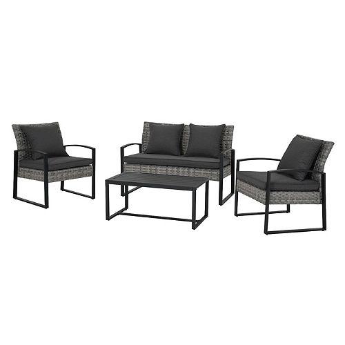 Ensemble de 4 sièges de conversation de patio en acier noir Victoria avec coussins gris