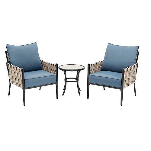 Dockview 3-Piece Bronze Steel Outdoor Patio Bistro Set with Blue Cushions