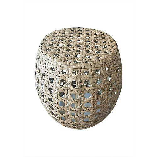 Woven Wicker and Durable Steel Caning Garden Stool