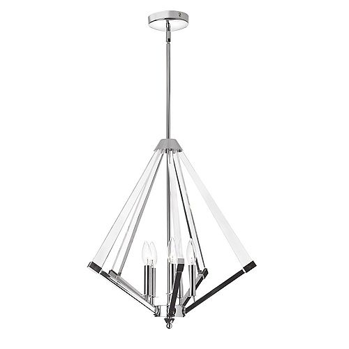 5 Light Chandelier in Polished Chrome Finish with Acrylic Arms