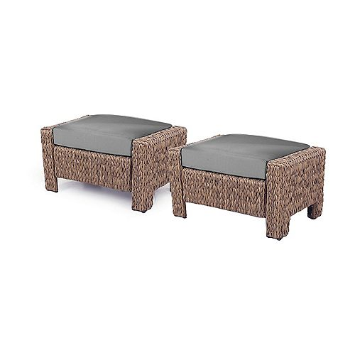 Laguna Point Natural Ottoman with Dull Gray Cushion - 2 Pack
