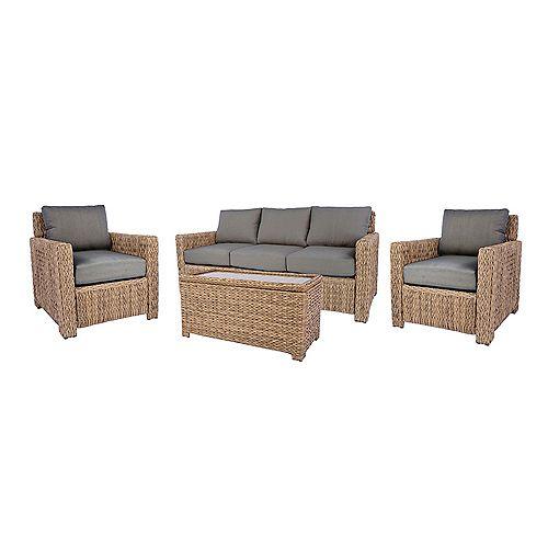 Sofa/mobilier pour causer Laguna Point de 4 pces, couleur naturelle, avec coussin gris terne
