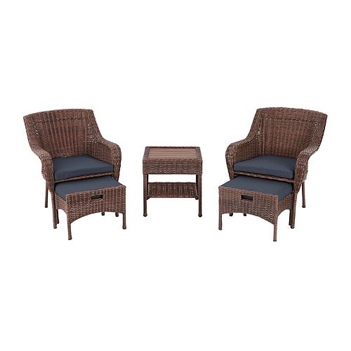 Hampton Bay Cambridge 5-Piece Brown Wicker Outdoor Patio Conversation Seating Set with Bare Cushions