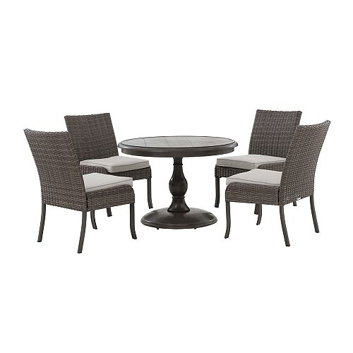 Windsor 5-Piece All-Weather Wicker Patio Round Dining Set with Beige Cushions