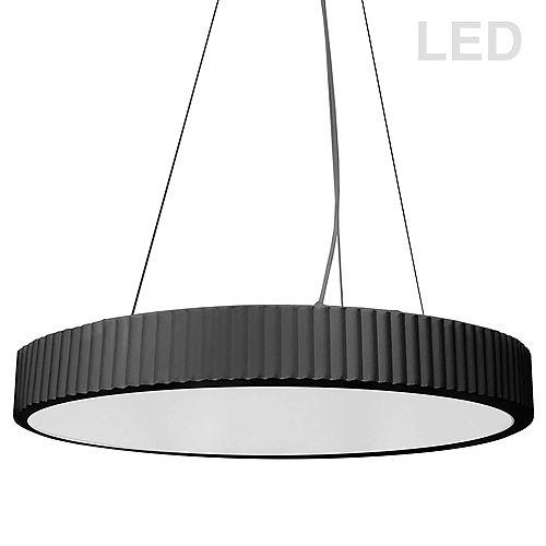 Dainolite 42W LED Pendant, Matte Black with White Acrylic Diffuser.