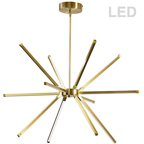 60W LED Chandelier, Aged Brass with White Acrylic Diffuser.