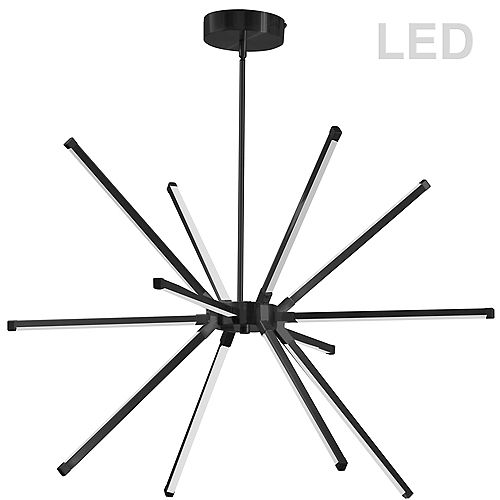 60W LED Chandelier, Matte Black with White Acrylic Diffuser.