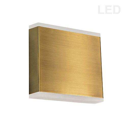 Applique murale LED 15W, laiton vieilli avec diffuseur acrylique givré.