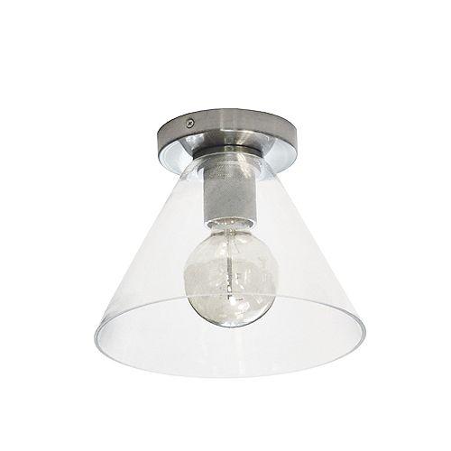 Dainolite Plafonnier incandescent à 1 lumière, chrome satiné avec verre transparent.