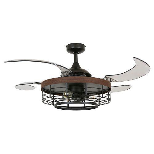 Fanaway Montclair 48-inch Black with Koa Trim AC Ceiling Fan with Light
