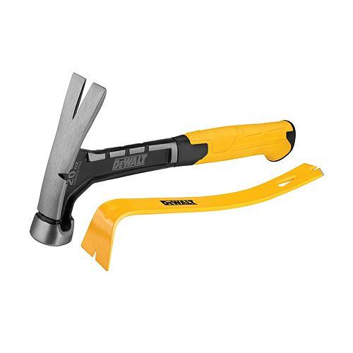 DEWALT 20 OZ Steel Hammer and 15-inch Flat Bar - (DWHT51054 + DWHT55160)