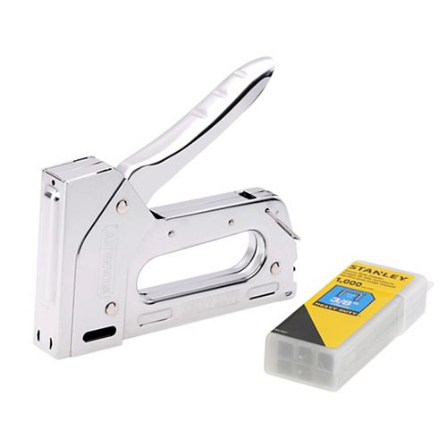 Heavy Duty Staple Gun and STANLEY 3/8-inch Heavy Duty Stapes, 1000-Pack (STHT82686L)