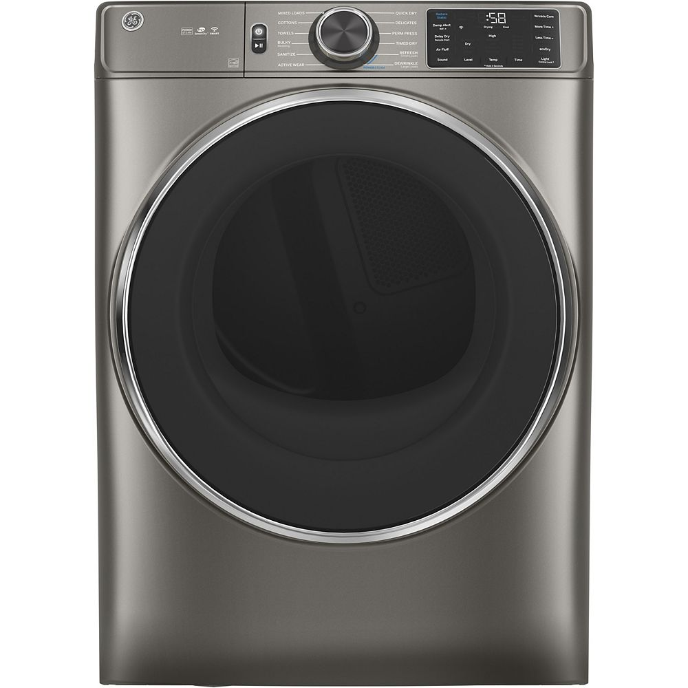 GE 7.8 cu. ft. Capacity Front Load Dryer with Built-In Wifi - Satin Nickel GFD65ESMNSN