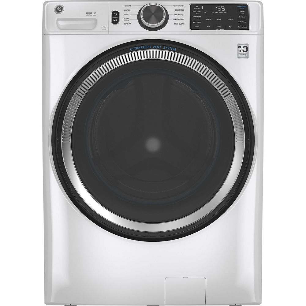 GE 5.5 cu. ft. (IEC) Front Load Washer with OdourBlock UltraFresh Vent System with Sanitization & Built-In Wifi - White