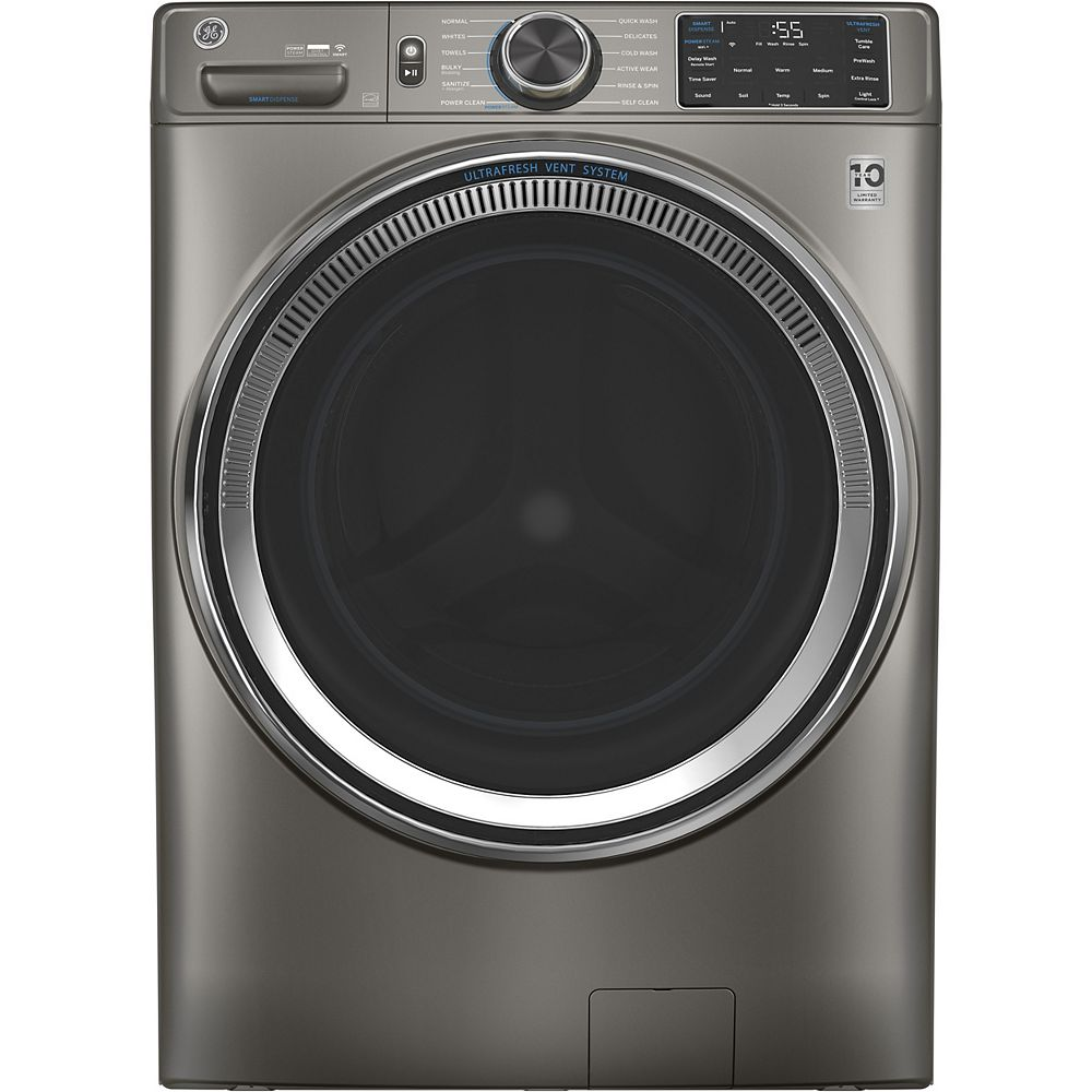 GE 5.5 cu. ft. (IEC)  Front Load Washer with OdourBlock UltraFresh Vent System with Sanitization & Built-In Wifi - Satin Nickel