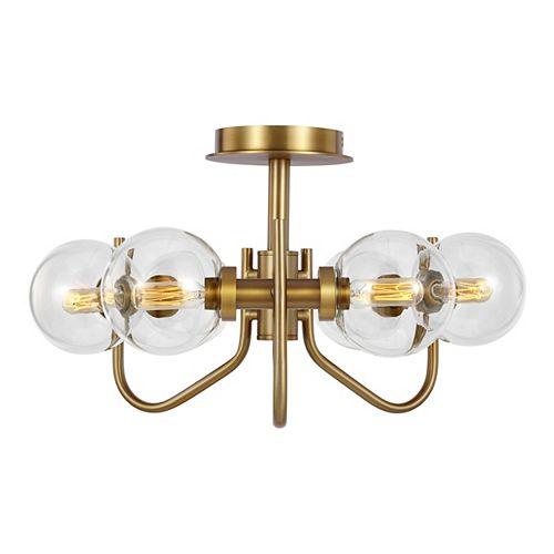 Verne 6-Light Burnished Brass Semi-Flush Mount with Clear Glass Shades