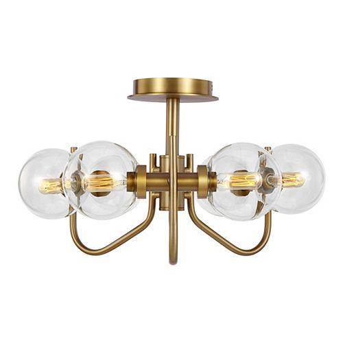 Support semi-encastré à six ampoules Verne avec abat-jour en verre transparent