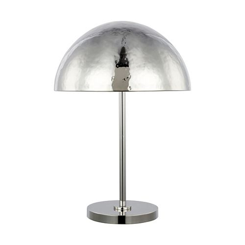 Lampe de table Whare en nickel poli avec abat-jour en nickel poli