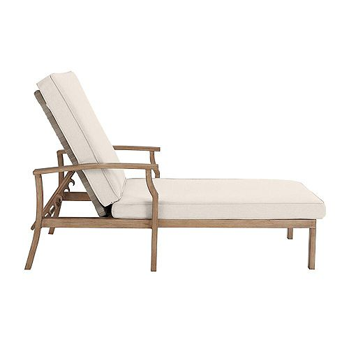 Beachside Rope Look Wicker Outdoor Patio Chaise Lounge with CushionGuard Almond Tan Cushions