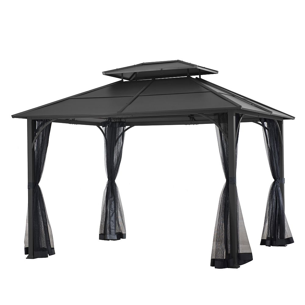 Hampton bay 10 ft. x 12 ft. Farrington Hard Top Gazebo in Graphite with Mosquito Netting Included