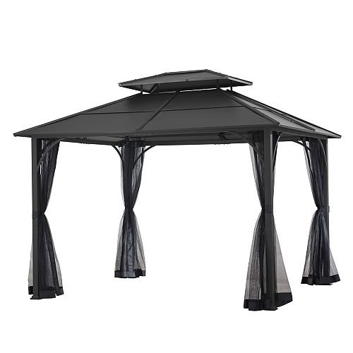 10 ft. x 12 ft. Farrington Hard Top Gazebo in Graphite with Mosquito Netting Included