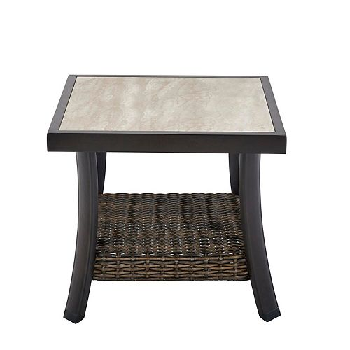 Whitfield 18 inch Square Dark Brown Metal Outdoor Side Table with Tile Top