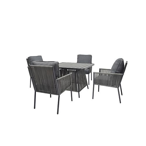 Tolston 5-Piece Woven Outdoor Dining Set with Charcoal Cushions