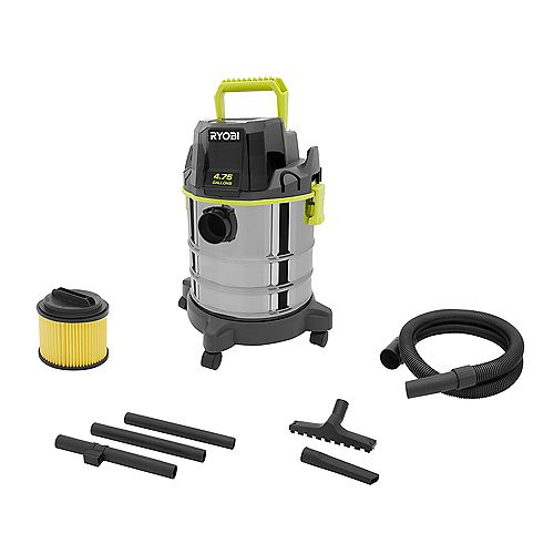 18V ONE+ Cordless 4.75 Gallon Wet/Dry Vacuum (Tool Only) with Hose, Crevice Tool, Floor Nozzle, and Extension Wands