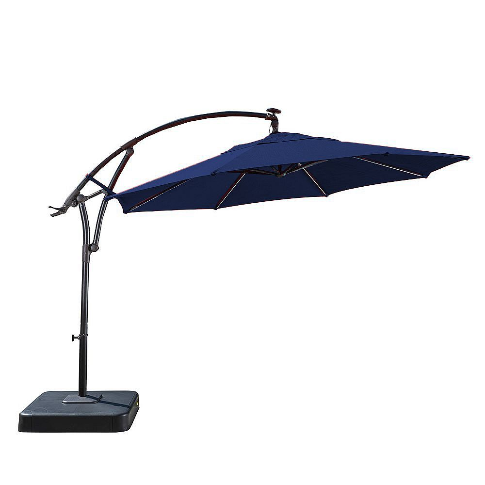11 ft solar light bar offset patio umbrella in blue with graphite resin base
