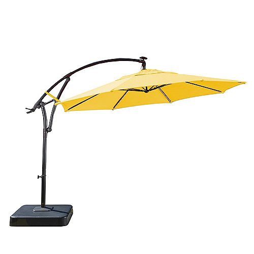 11 ft. Solar Light Bar Offset Patio Umbrella in Yellow with Graphite Resin Base
