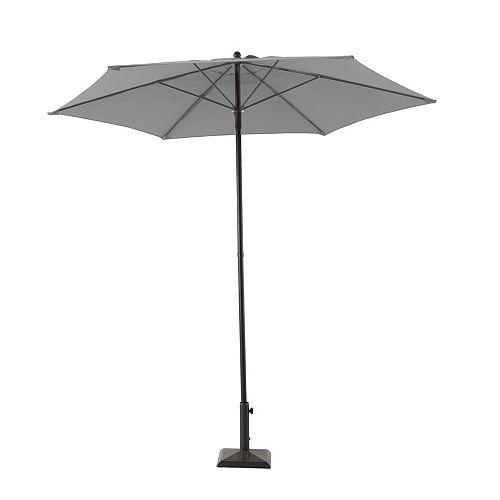 7.5 ft. Steel Market Patio Umbrella in Grey