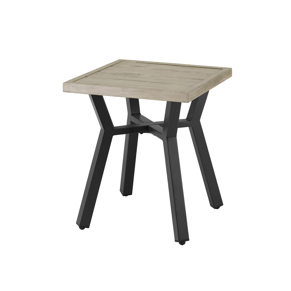 StyleWell Mix & Match Square Slat Patio Accent Table in Graphite
