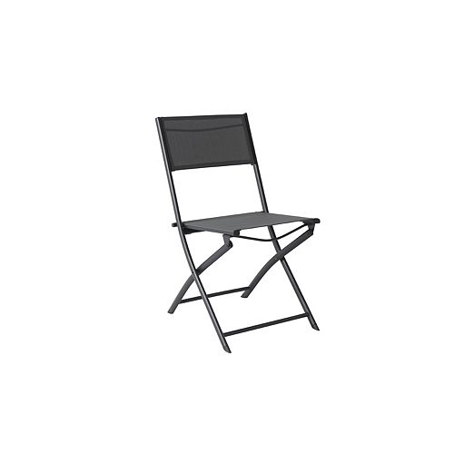 Mix & Match Graphite Sling Folding Armless Patio Dining Chair