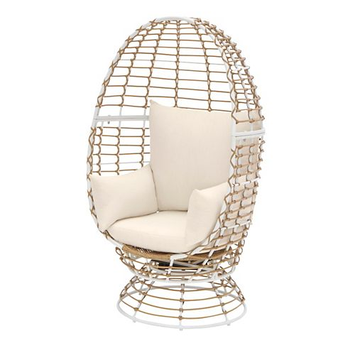 White All-Weather Wicker Patio Egg Chair with swivel base