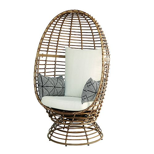 Brown All-Weather Wicker Patio Egg Chair with Swivel Base