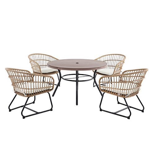 Cayman White 5-Piece All-Weather Wicker Patio Dining Set