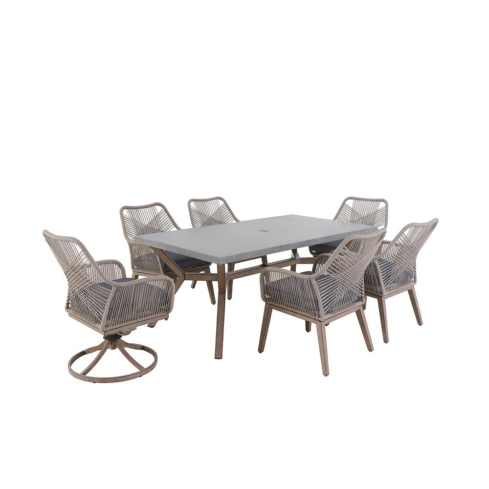 Hampton Bay Luxley Charcoal 7 Piece All Weather Wicker String Patio Dining Set The Home Depot Canada