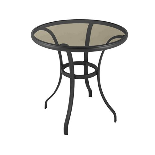 Mix & Match Round 28-inch Dia Patio Bistro Table with Tempered Glass Top