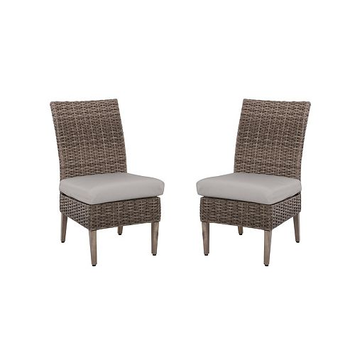 Hampton Bay Rock Cliff Riverbed All-Weather Wicker Armless Patio Dining Chair with Seat Cushion (2-Pack)
