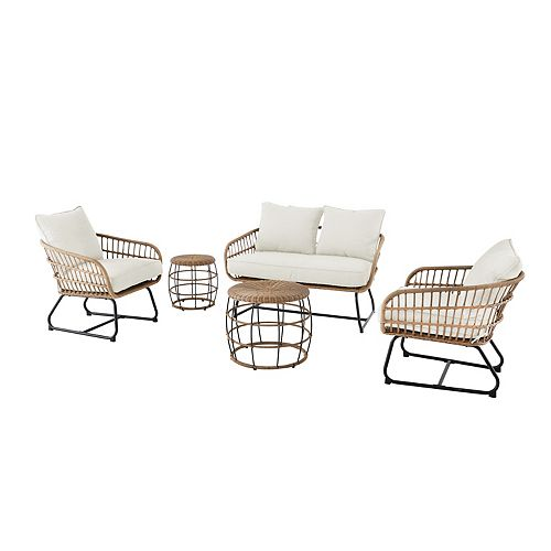 Cayman White 5-Piece All-Weather Wicker Patio Chat Set