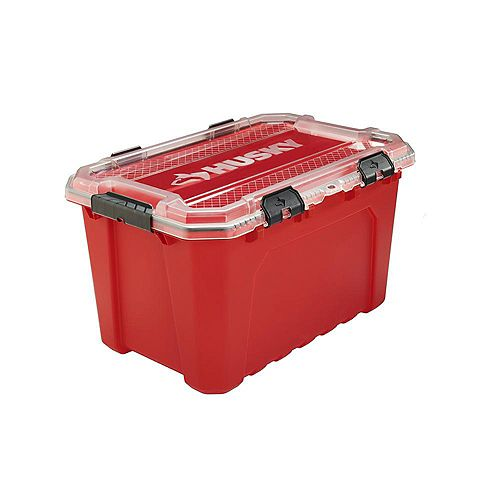 Husky 75L Professional Duty Waterproof Storage Container with Hinged Lid