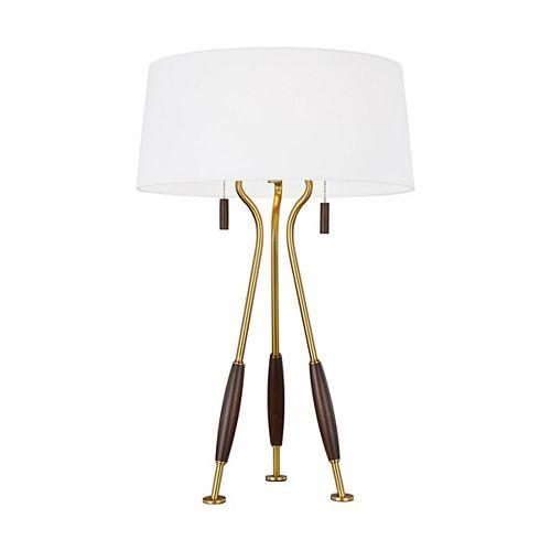 ED Ellen DeGeneres Crafted by Generation Lampe de table en laiton bruni Arbur avec abat-jour en lin blanc