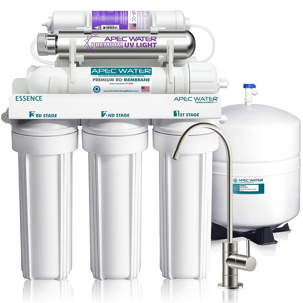 APEC Water Systems Essence 75 GPD 7-Stage Reverse Osmosis Water Filter System with Alkaline UV Ultra-Violet Sterilizer
