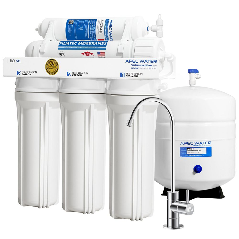 APEC Water Systems Ultimate Premium Quality WQA Certified 90 GPD Undersink Reverse Osmosis Drinking Water Filter System