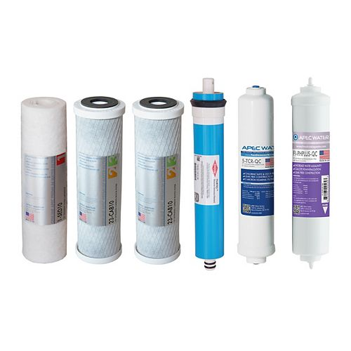APEC Water Systems Ultimate Complete Replacement Filter Set for 90 GPD pH+ 6-Stage RO Systems